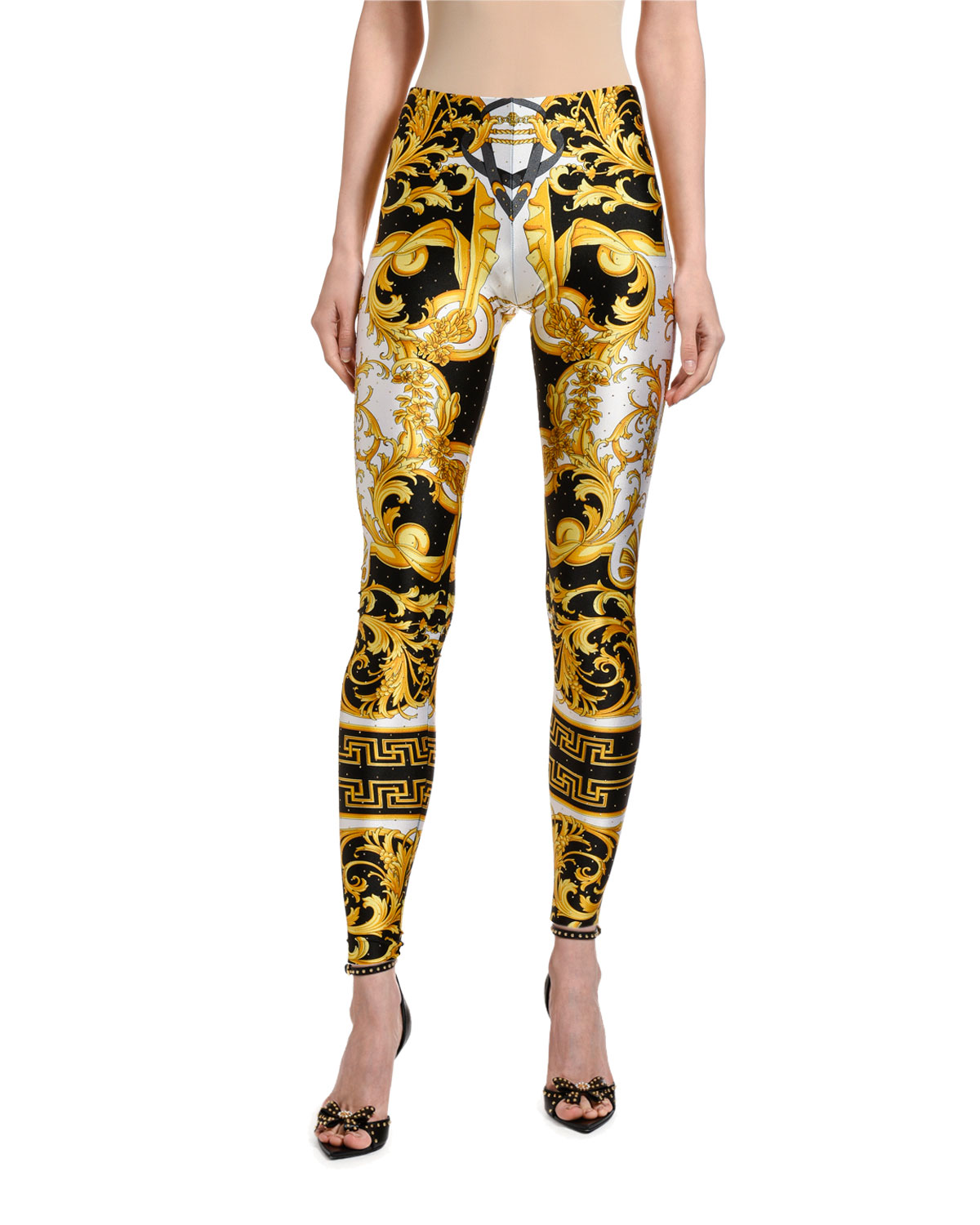 Greek Key Print Studded Leggings