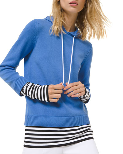 Cashmere Layered Pullover Hoodie