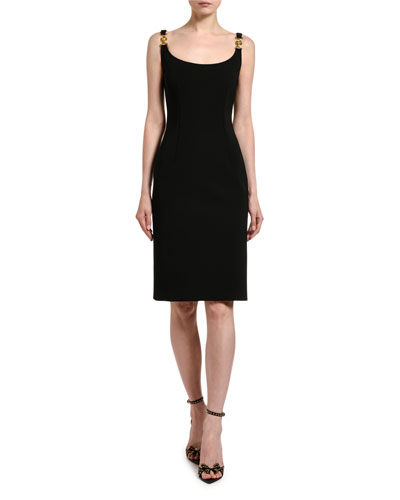 Fitted Buckle-Strap Sheath Dress