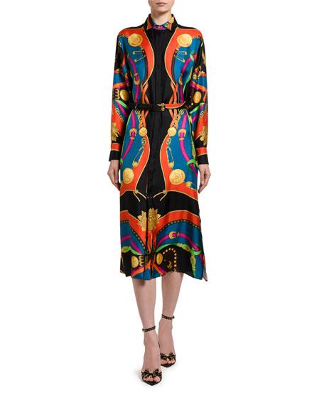 Versace Multicolor Scarf Shirtdress