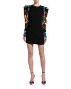 Versace Scarfed Puff-Sleeve Shift Dress