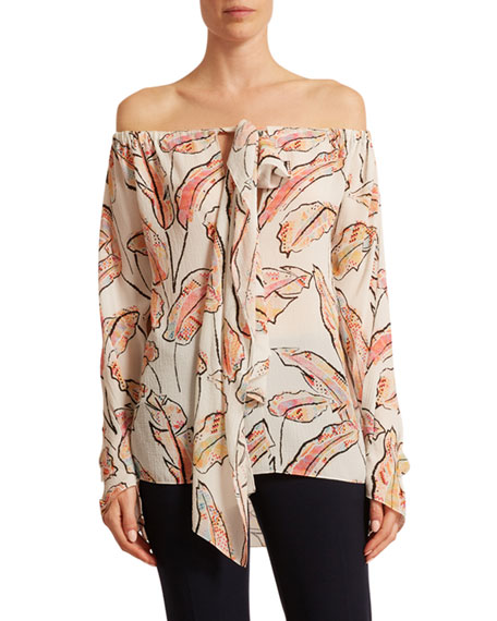 Roland Mouret Gila Off-the-Shoulder Feather-Print Seersucker Blouse