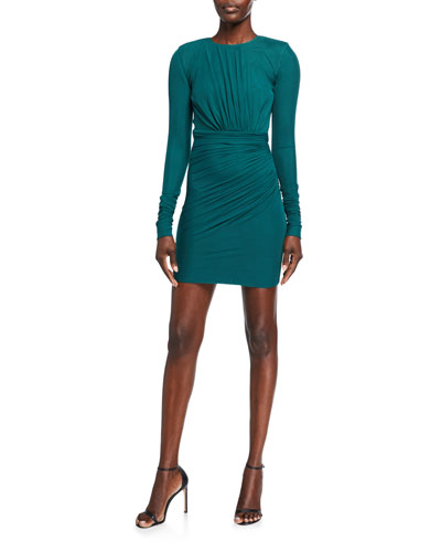 Ruched Jersey Long-Sleeve Bodycon Dress
