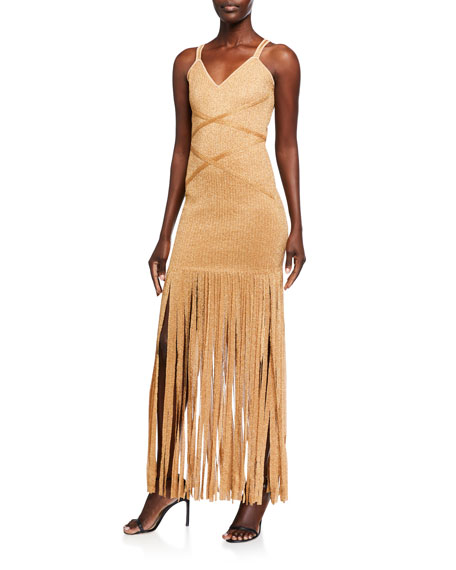Herve Leger Shimmer Sleeveless V-Neck Fringe Dress