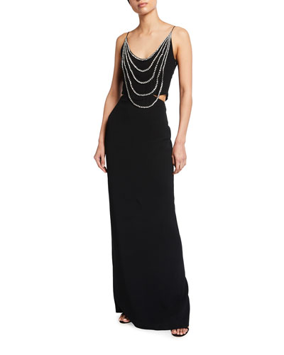 Draped-Beaded Column Gown