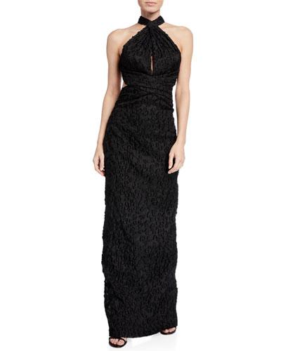Jacquard Crisscross Halter Gown