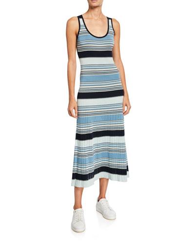 Striped-Knit Pleated Skirt Midi Dress