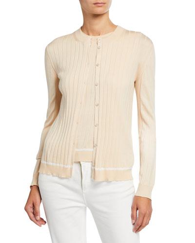 Silk-Cotton Piped Cardigan Sweater