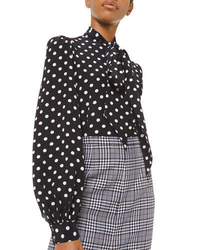 Silk Polka-Dotted Bowed Long-Sleeve Blouse