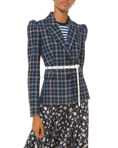 Michael Kors Collection Plaid Puff-Sleeve Fitted Blazer