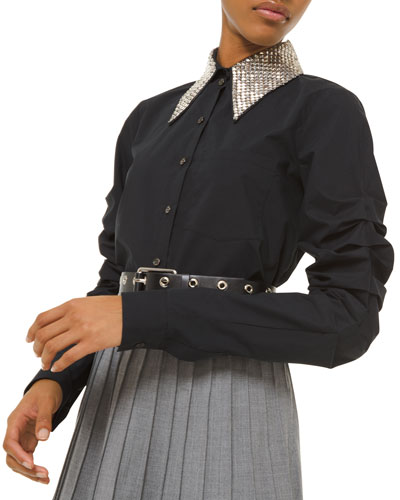 Beaded-Collar Ruched-Sleeve Button Front Shirt