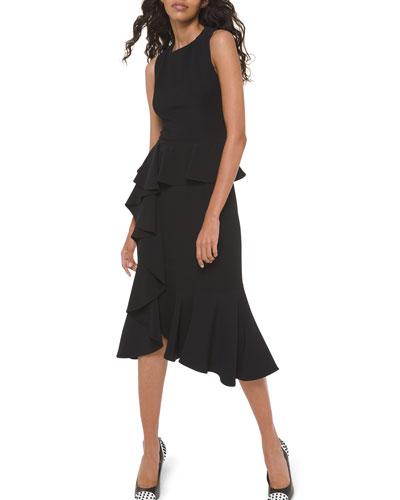 Asymmetric Cascading Sheath Dress