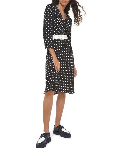 Polka-Dot Belted V-Neck Flared Dress