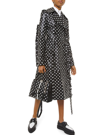 Michael Kors Collection Polka-Dotted Leather Ruffle-Seam Trench Coat