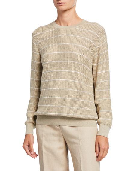 Loro Piana Striped Balloon-Sleeve Crewneck Sweater