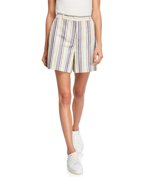 Loro Piana Lonny Striped Cotton Hemp Shorts