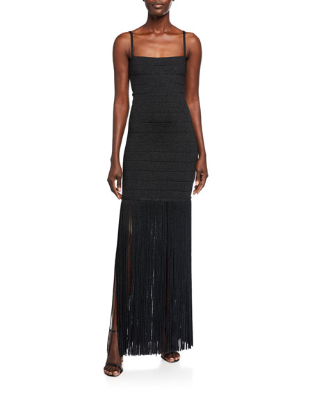 Herve Leger Shimmer Sleeveless Square-Neck Fringe Dress