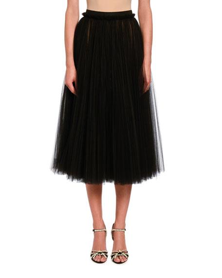 Dolce & Gabbana Pleated Tulle Midi Skirt