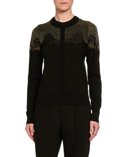 Contrast-Knit Cardigan