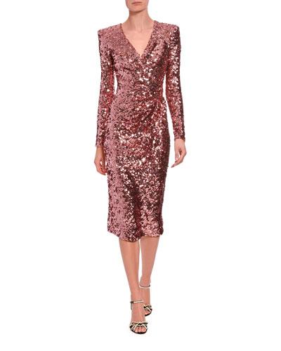 Long-Sleeve Sequined V-Neck Cocktail Dress