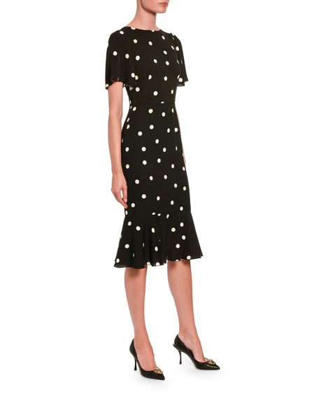 Dolce & Gabbana Polka-Dotted Silk Flutter-Sleeve Dress