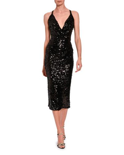 Sleeveless V-Neck Sequined Midi Dress