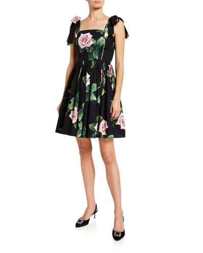Spaghetti Tie Sleeve Floral Dress
