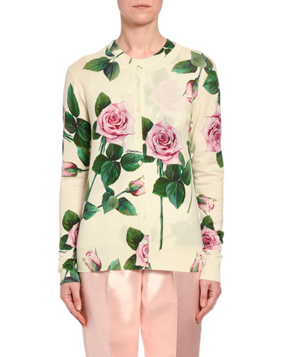 Floral Knit Cashmere/Silk Button-Front Cardigan