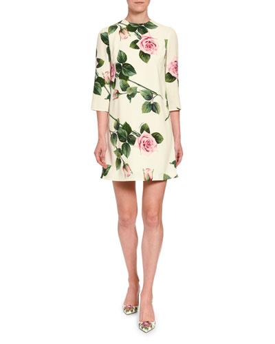 Three Quarter Sleeves Fl Print Dress Neiman Marcus