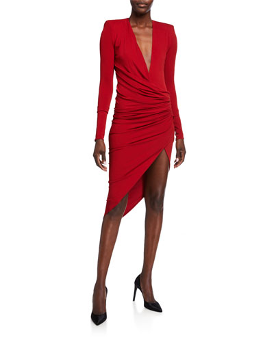 Wrapped Deep-V Jersey Dress