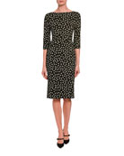 Dolce & Gabbana 3/4-Sleeve Polka-Dotted Dress