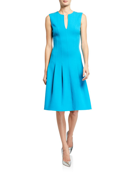 Oscar de la Renta Darted Wool A-Line Dress