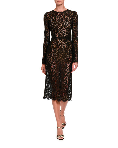 Dolce & Gabbana Classic Sheer Lace Long-Sleeve Midi Dress