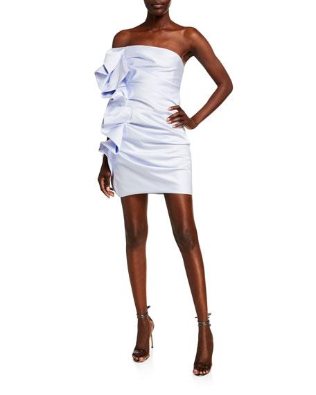Alexandre Vauthier Strapless Ruffled Satin Mini Cocktail Dress