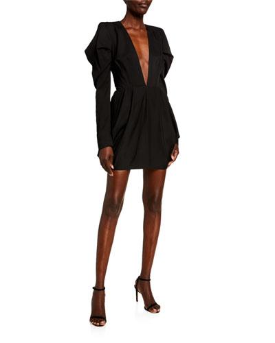 Deep V Long Sleeve Dress