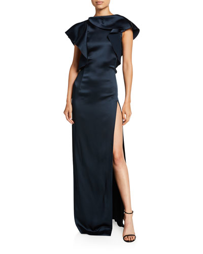 Satin Ruffled High-Neck Gown