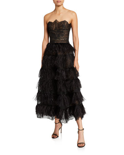 Lace Bodice Strapless Feather-Skirt Gown