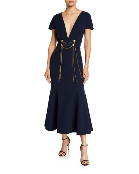 Oscar de la Renta Chain-Waist Crepe de Chine Midi Dress