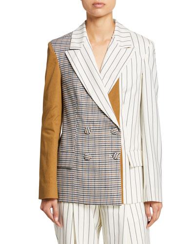 Patchwork Silk Blazer Jacket