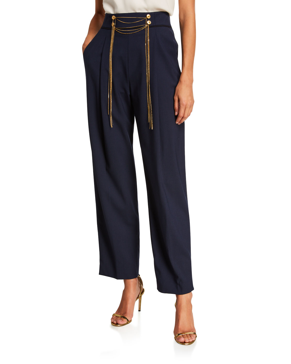Oscar De La Renta Pants HIGH-RISE CHAIN WAIST PANTS