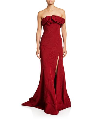 Ruffled Taffeta Strapless Gown
