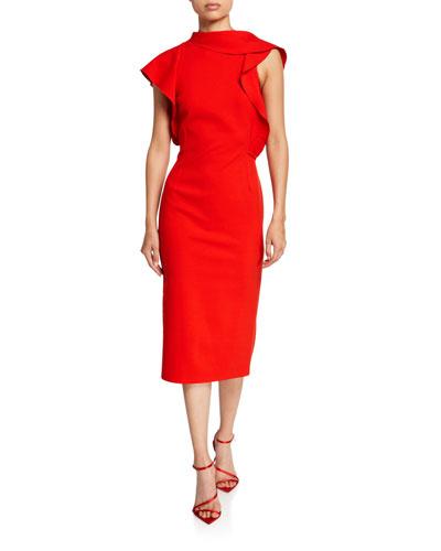 Ruffled High-Neck Pencil Dress
