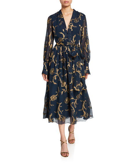 Oscar de la Renta Metallic-Embroidered Chiffon Tea Length Dress