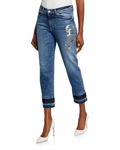 J106 Sequined Straight-Leg Jeans