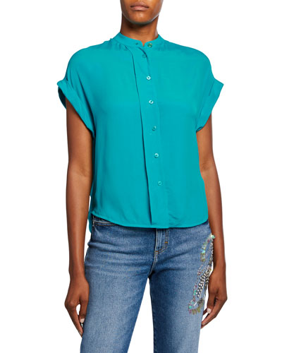 Numiosa Short-Sleeve Button-Front Top