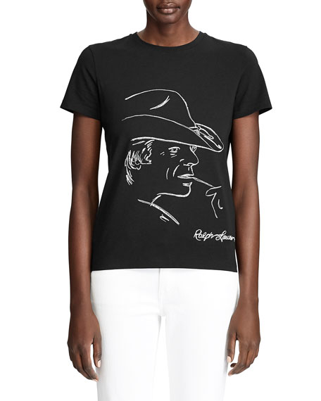 Ralph Lauren Collection Embellished Graphic Cotton T-Shirt