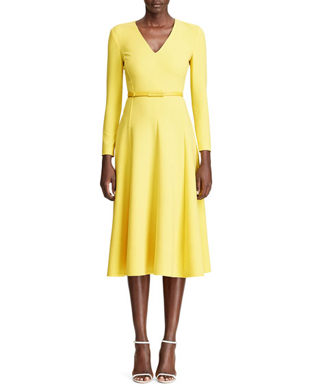 Ralph Lauren Collection Demi Stretch Wool Midi Dress