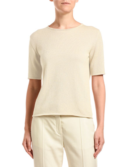 Agnona Cashmere Shimmer Short-Sleeve Sweater