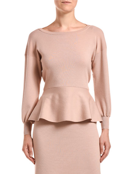 Agnona Fine-Knit Peplum Top