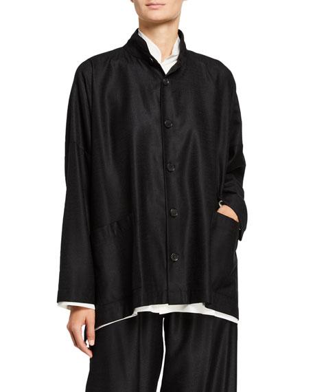 Eskandar Wide Long-Back Stand Collar Jacket